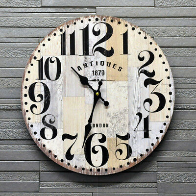 Round Wall Clock London Antiques 1870 Wood Effect Battery Vintage Retro 34cm