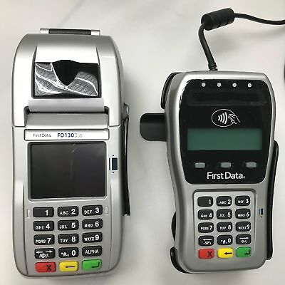 First Data FD-130 Duo Credit Card Terminal and FD-35 PINpad with Wells 35... New