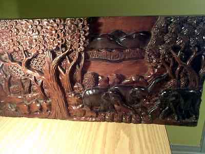 Vintage Antique wall decor handcrafted sculpted on wood hanging panel
