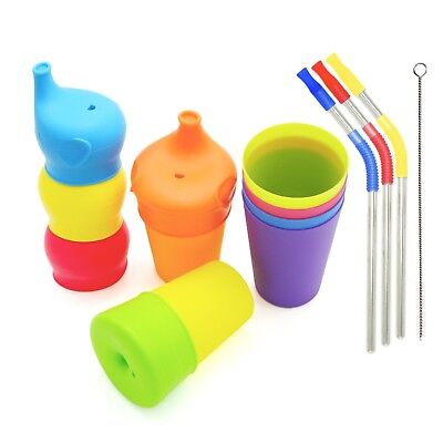 Tougs Silicone Sippy Lids (5 Pack), Colorful Plastic Cups / Party Drinkin... New