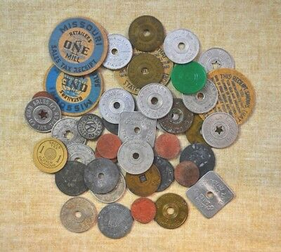 Lot Of Used Tax Tokens - Various Sizes & Styles