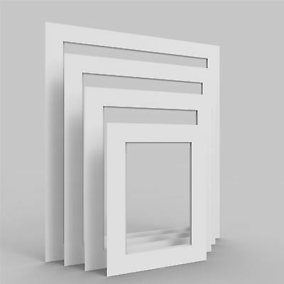 White Picture Photo Frame Mounts Bevel Cut Mount pack of 4, 8, 12 and 24
