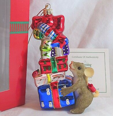 Charming Tails Glass Ornament Stacks of Joy COA presents Christmas