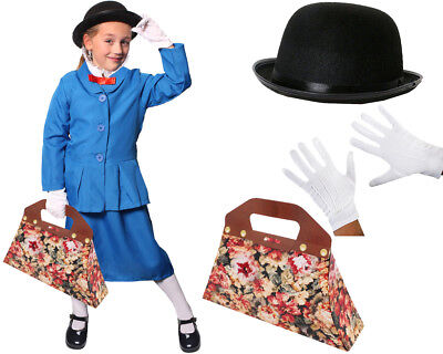Girls Magical Nanny Costume World Book Day Character Victorian Fancy Dress Kids