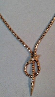 Vintage 18K Gold Snake Necklace with Ruby Eyes.  Excellent