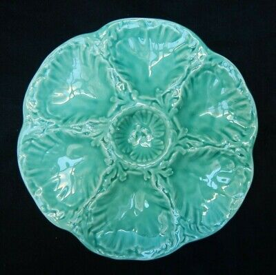 Antique French Gien Majolica Oyster Plate Celadon Turquoise