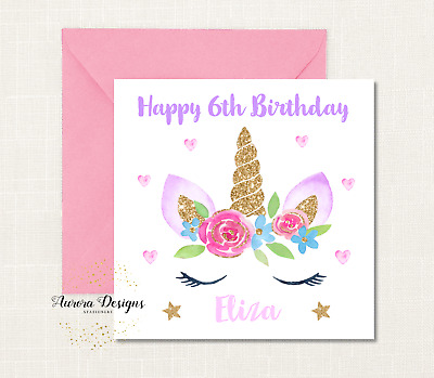 Personalised Girls Unicorn Birthday Card - name and age - Glitter Effect