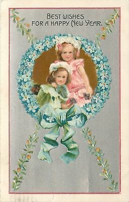 New Year~Pink Lime Lil Girls~Blue Forget-Me-Nots Flower Frame~Silver Emboss~G-A