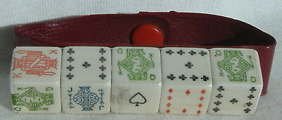 Vintage Poker Dice In Snap Closed Holder Never Used