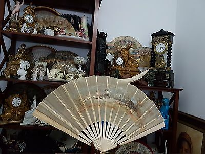 Antique Handfan  with signature, hand painting - ABANICODE FINALES DEL SIGLO XIX