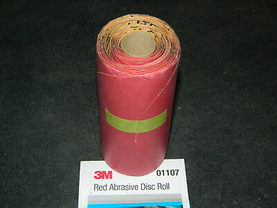"(1) New 3M 01107 Stikit 6"" Inch Red Abrasive 100 Discs Roll P500 Sandpaper 1107"