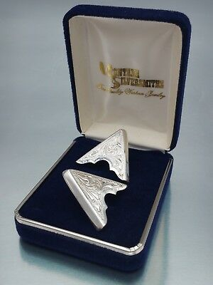 Silver Western Collar Clips Montana Silversmith collectors Vintage set of two gc
