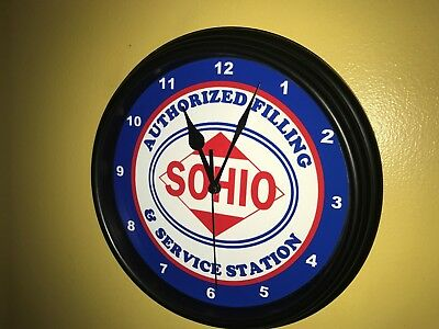 SOHIO Standard of Ohio Oil Gas Service Station Mechanic Garage Wall Clock Sign