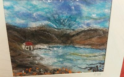 HEBRIDEAN HARRIS WOOL SEASCAPE / LANDSCAPE  - WET FELTING  1 off designs
