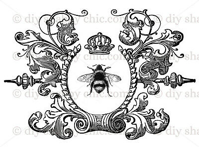 Furniture Decal Image Transfer Vintage Antique French Typography queen bee Sign
