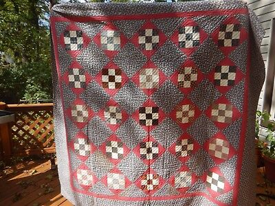 Early 9 patch QUILT great fabrics 19th Century UNWASHED UNUSED Vintage STAINS