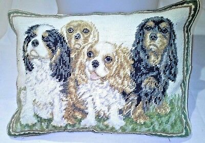 "ALL FOUR Cavalier King Charles Spaniels Chelsea Textiles Very RARE 15"" x 11"""
