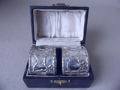 Gorgeous Pair Edwardian Sterling Silver Flowers Napkin Rings 1908,boxed