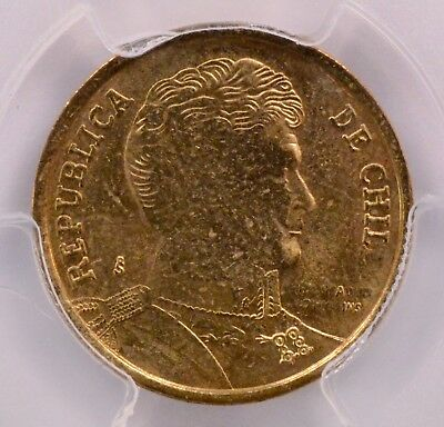 PCGS ND Chile 10 Peso Mule Struck with Two Obverse Dies MS-61