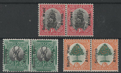 South West Africa 1926/7 South Africa Stamps Overprinted Sg42,, Sg45 & Sg47 Mint