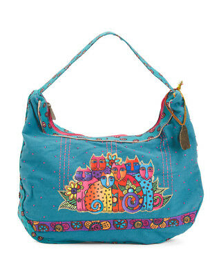 Laurel Burch Feline Clan Hobo Tote Bag Canvas Cat Purse Handbag New With Tags