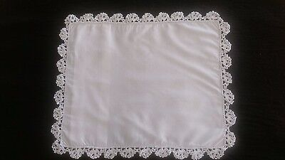Hand crafted baby pillowcase with crotchet lace, excellent condition
