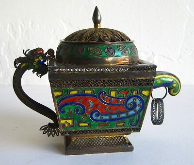 Fine Chinese Sterling Silver Cloisonne Enamel Imperial Dragon Ceremonial Teapot