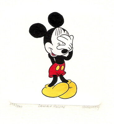 Mickey Mouse Hand Painted Ltd Ed Etching