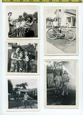 (30) Vintage photo lot / BICYCLES - Riding BIKES - Cycling OLD SNAPSHOTS 1910-70