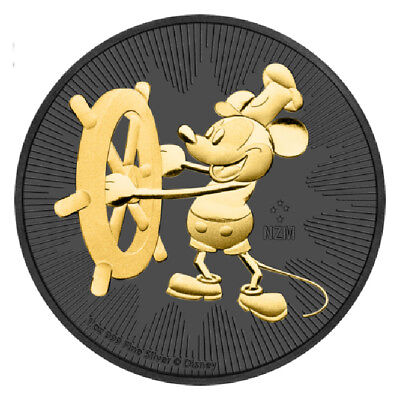 2017 1 oz .999 fine silver Disney Mickey Mouse Steamboat Willie Ruthenium Coin