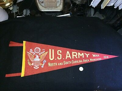 U.S. ARMY MANUVERS Pennant North & South CAROLINA 1941 WWII Orig. World War Two