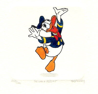 Donald Duck Hand Painted Ltd Ed Etching