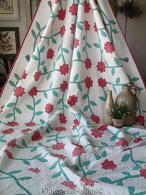 Simply Dances! Mid 19th Century Red Green Applique QUILT w/wear