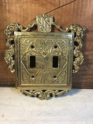 Vintage Virginia Metalcrafters Solid Brass Double Light Switch Plates Cover