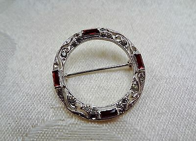 Vintage Art Deco Weath Red Clear Rhinestone Silver Tone Scatter Brooch Pin
