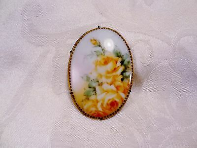 Vintage Antique Yellow Roses Flowers Hand Painted Porcelain Brooch Pin