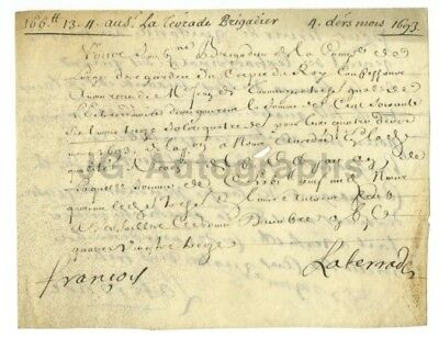 17th Century France 1693 - Vintage Document on Vellum - French History