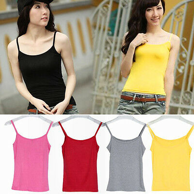 Women Sleeveless Solid Tee Shirts Casual Tank Tops Spaghetti Strap Vest Top