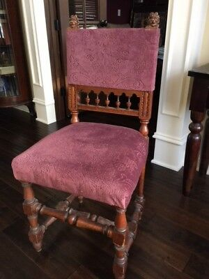 Antique Oak Lion Head Carved Chairs - Set of 4