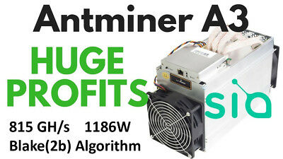 Antminer A3 ASIC Blake (2b) miner 815GH/s including APW3++ PSU - March Batch