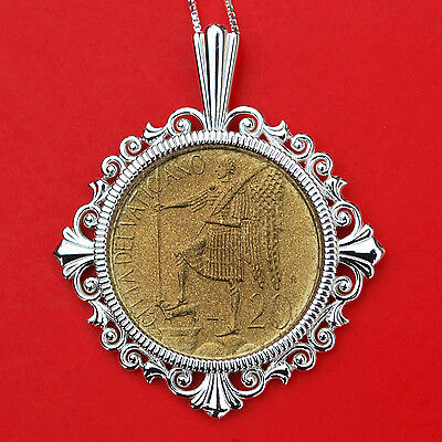 1986 Vatican 20 Lire Standing Angel BU Unc Coin 925 Sterling Silver Necklace