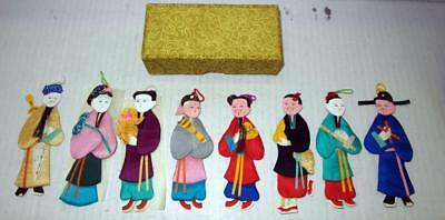 Vintage 1950S ?  Set Of 8 Chinese Silk Paper Doll Ornaments In Original Box