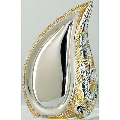 Cremation Urn for Adults Large 260mm silver and gold color teardrop