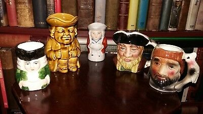 Job Lot Toby Jugs Various Sizes Unmarked/foreign