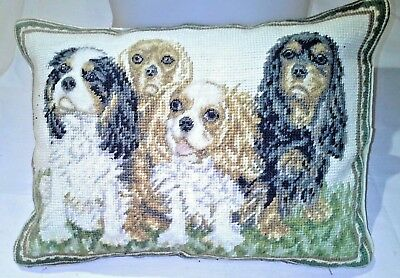 "ALL FOUR Cavalier King Charles Spaniels dog Needlepoint RARE & UNIQUE 15"" x 11""."