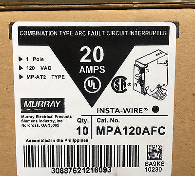 10 Murray MPA120AFC 20amp 1 Pole 120-V Combination Type Arc Fault Breaker NEW