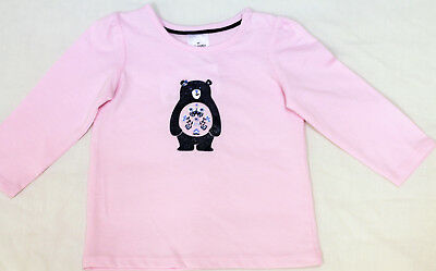 NEW Baby Pink Bear Print T-Shirt Size 00 3-6 months Long Sleeves Cotton Tee Top