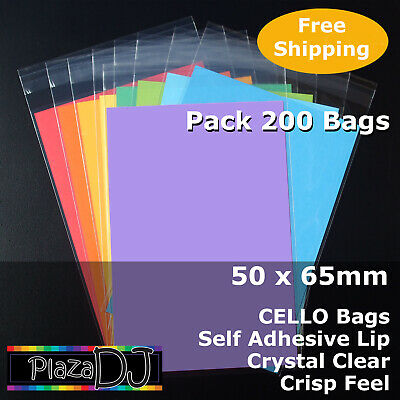 50x65mm CELLO Bags (100) PP Cellophane Crystal Clear Adhesive Lip #PR5065