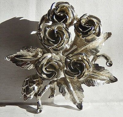 Vintage Silver-Tone 5 Rose Flower Pin Brooch