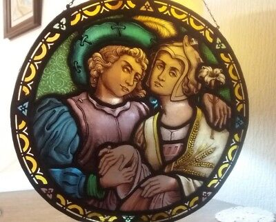ANTIQUE FRENCH Stained glass 17 century